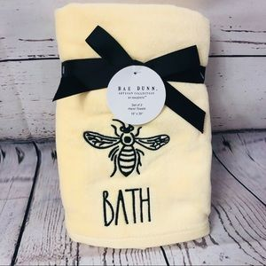 Rae Dunn BATH Bumble bee Hand Towels Set of 2 Yellow NWT